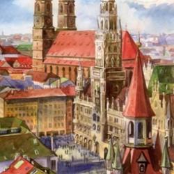 Postkarte-Ansichtskarte-Muenchen-Aquarell-Frauenkirche-KM8024