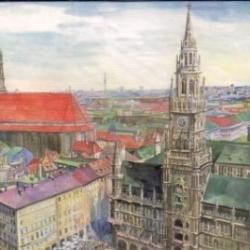 Postkarte-Ansichtskarte-Muenchen-Aquarell-KM8023