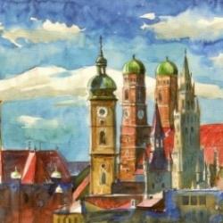Postkarte-Ansichtskarte-Muenchen-Aquarell-Panorama-KM8058
